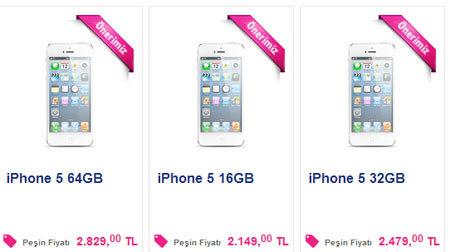 iPhone 5 Turkcell fiyatları