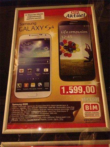 Galaxy S4 fiyatı 400 TL indi!