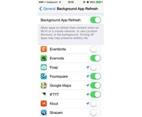 iOS 7 Pil ömrü uzatma